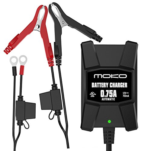 MoKo Ultra Safe 0.75A Smart Battery Charger / Maintainer for 12V Lead Acid Batteries, Automotive, Motorcycles, Lawn Mower, Cars, Boats, ATVs, UTVs, Snowmobiles, with Fused Terminal Leads and Indicator