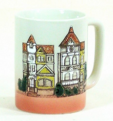Otagiri Pottery Coffee Mug Victorian Houses Gray Pink Stoneware Cup (Stoneware Japan Coffee Cups)