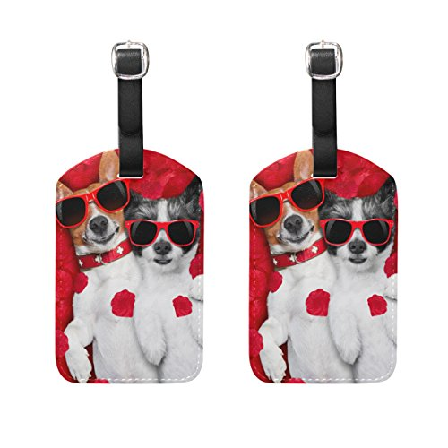 Top Carpenter 2 Packs Couple Dogs Lying Bed Luggage Hand-bag Claim Baggage ID Tag Travel Identifier Suit-case Label - Leather by by Top Carpenter