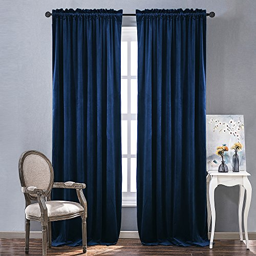 NICETOWN Luxury Blackout Velvet Curtain Panels - Royal Blue Rod Pocket Window Treatment for Living Room/Bedroom/Home Theatre (1 Pair, 84 inch Length) - Pole Top Curtain Panel
