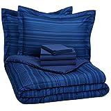 AmazonBasics 7-Piece Bed-In-A-Bag - Full/Queen, Royal Blue Calvin Stripe
