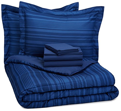 (AmazonBasics 7-Piece Bed-In-A-Bag Comforter Bedding Set - Full or Queen, Royal Blue Calvin Stripe )