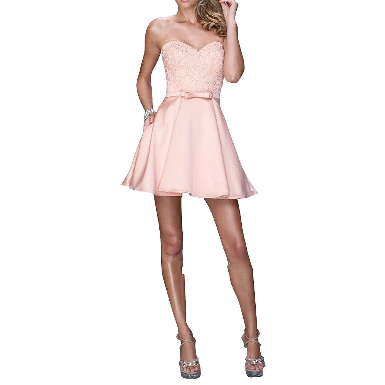 La_mia Braut Glamour Satin Spitze Hell Rosa Abendkleider ...