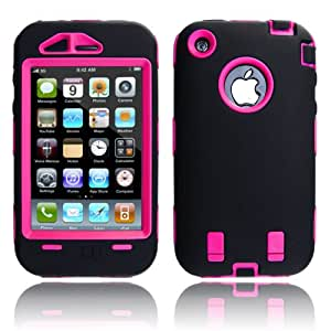MagicMobile Hard Case w/ Soft Skin Rubber Silicone Cover for Iphone 3g 3gs Black / Pink