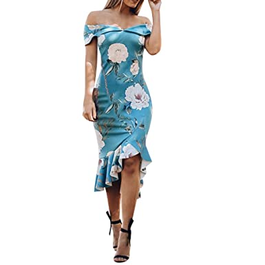 world-wide free shipping 50% price promo codes Pochers Vintage Dresses for Wedding Guest Women Floral Bodycon Slim Wrap  Dress Elegant Off Shoulder Ruffle Midi Dress Party Dress Long Skirt