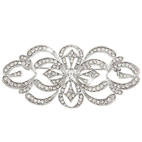 EVER FAITH Art Deco Bridal Brooch Clear Austrian Crystal Silver-Tone