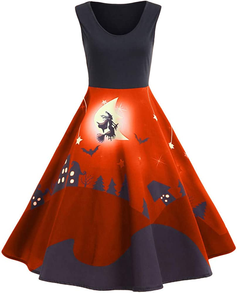 VECDY Damen Kleid Herbst Neue Frauen Vintage Print Sleeveless Halloween langes Kleid Elegantes Karneval Kleid Exquisite Hexe Print Dress Pullover