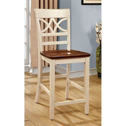 Furniture of America Cherrine Country Style Pub Dining Chair, Oak/Vintage White, Set of 2 (Chairs And Table Height White Counter)