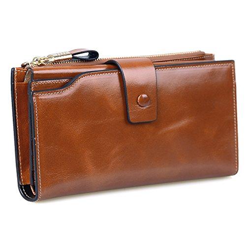 Jack&Chris Women's RFID Blocking Luxury Wax Genuine Leather Clutch Wallet Card Holder Organizer Ladies Purse, WB301 (Brown) Brown Ladies Purse Accessories
