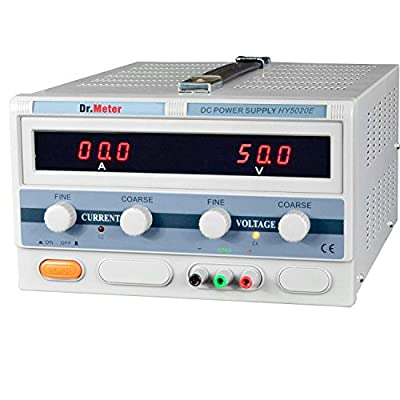 Dr.Meter HIGH CURRENT SWITCHING Single-Output DC POWER SUPPLY 50V 20A HY5020E 1000W [Alligator to Banana and AC Power Cable Included]