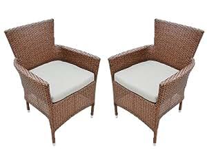 Ambientehome ratán apilable Silla sillón Incluye Cojín meluco, marrón, 2Piezas