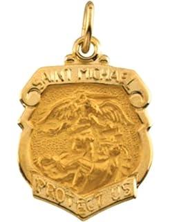 Amazon 14k white gold st michael shield patron saint of 14k yellow gold st michael shield aloadofball Gallery