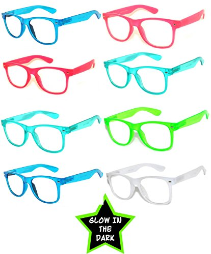 Retro Style Vintage Clear Lens Sunglasses Color Frames 8 Pack - Frame Glasses Color