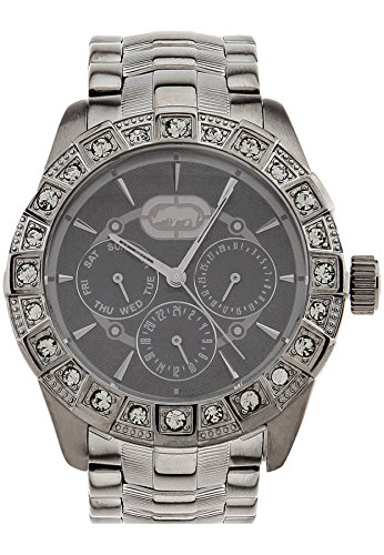 Marc Ecko Womens The Rocksie Crystal Accented Multifunction Gunmetal IP Bracelet Watch E16508L1 -