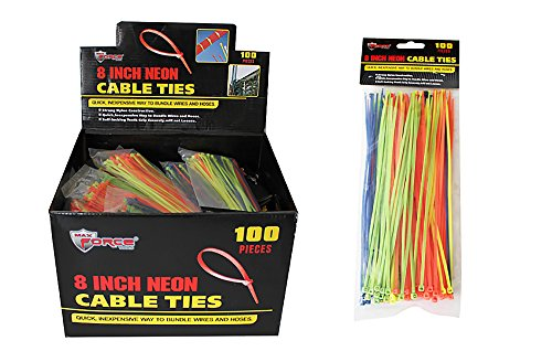 Diamond Visions Max Force 2221237 8 Inch Cable Tie 100 Piece Pack Set in Neon Colors (2 Packs)