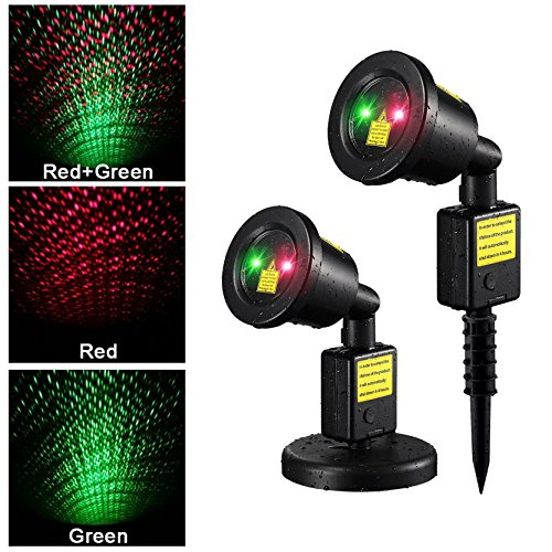 Starry Sky Outdoor Laser Lights, 7W Red & Green 2 in 1 Dynamic Lighting Star Projector Laser Spotlight Light Waterproof for Home, Garden, Landscape, DJ Party etc.