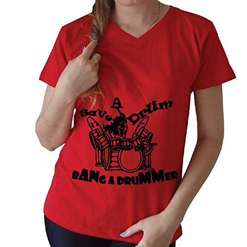 Save a drum bang a drummer V-Neck T-Shirt