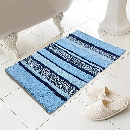 Tony's Textiles Luxury 100% Cotton Tonal Striped Heavy Weight Bath Mat Rug Bathroom Toilet Navy Blue