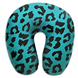SHoelska Green Leopard Print Animal Memory Foam U-Shaped Pillow,Novelty Travel Rest Pillow for Neck Pain,Breathable Soft Comfortable Adjustable