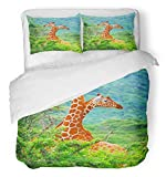 Emvency 3 Piece Duvet Cover Set Breathable Brushed Microfiber Fabric Animal Family of Giraffes Spotted in The Woods Kenya Africa Wild Life Safari Forest Bedding with 2 Pillow Covers Full/Queen Size