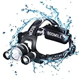 Super Bright LED Headlamp Waterproof Headlight with 4 Lighting Modes, 2 Rechargeable Batteries and USB Cable, 2400 Lumen Headlight for Running, Camping, Hiking, Reading, Cycling, Climbing, Fishing