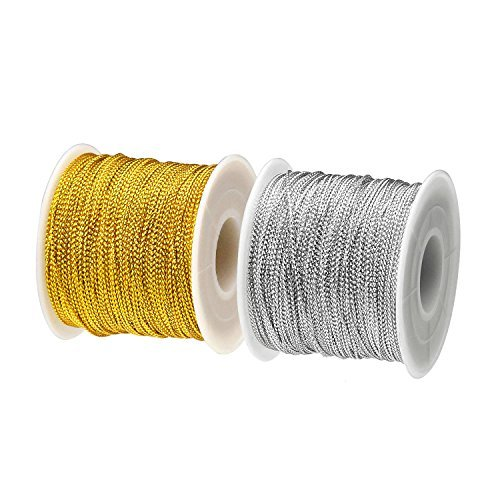 BTNOW 2 Spool 218 Yards/ 656 Feet Metallic Cord Tinsel String Craft Making Cord (Gold and Silver) ()