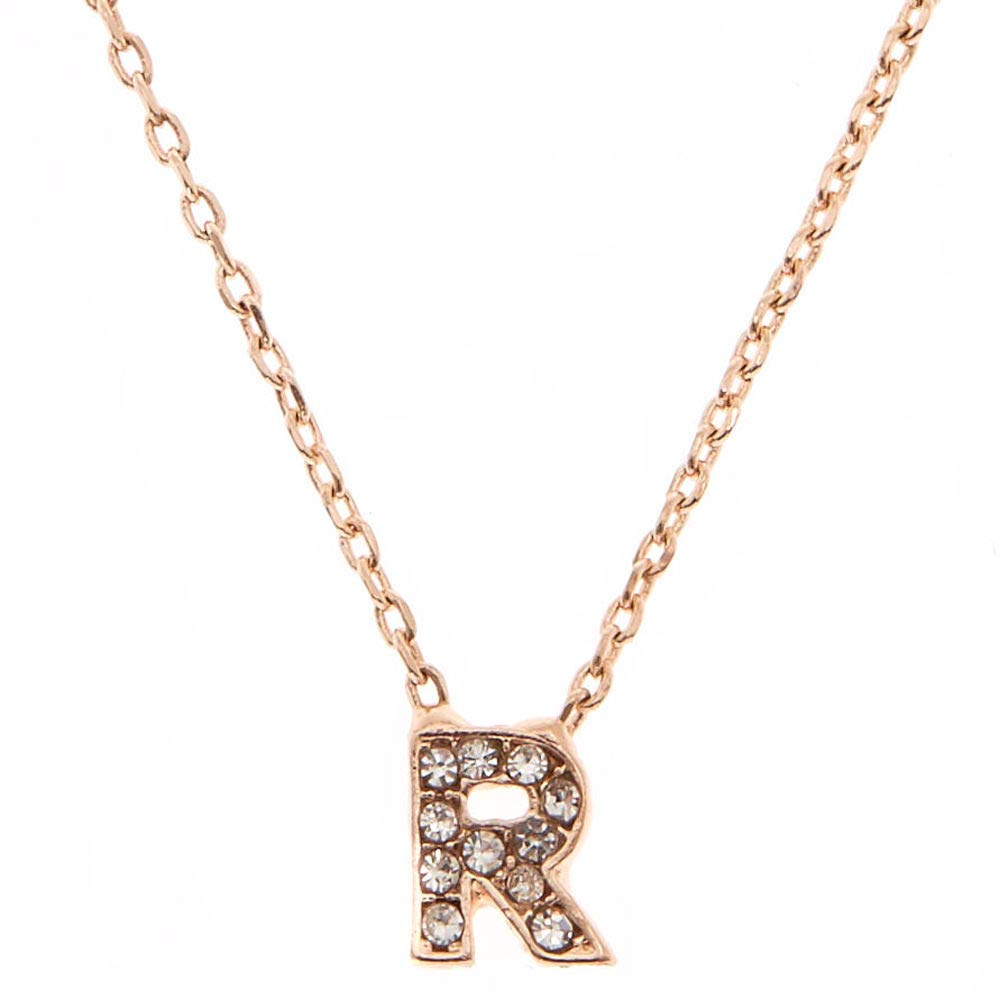Claires Girls Rose Gold Studded R Initial Necklace