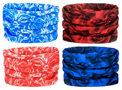 (Gorecio 4,6,9 PCS Face Scarf Headband Bandana Mask - 16 in 1 Headwear Multiuse Neck Gaiter Headwrap Balaclava Helmet Liner Dust Head Sport Sweatband for Face Shield Ski Men Cold Snowboard (Rose))