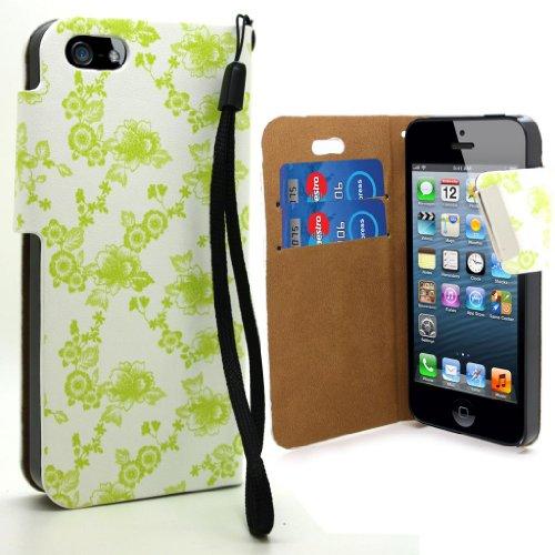 Accessory Master 5055716362220 Buch Stil Ledertasche für Apple iPhone 5G Blumen grün