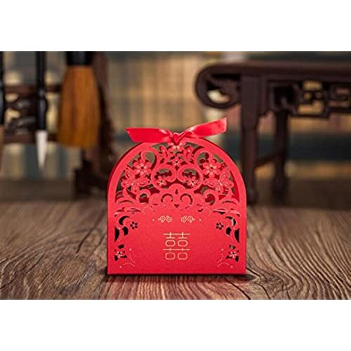 Genial Finex 100 Pcs Premium Korean Wedding Design   Red Traditional Double  Happiness With Butterflies U0026 Flowers   Party Favors Candy Boxes W/ Ribbons  Hollow ...