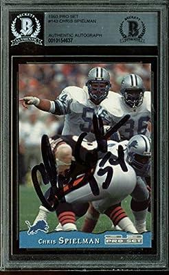 Lions Chris Spielman Authentic Signed Card 1993 Pro Set #143 BAS Slabbed