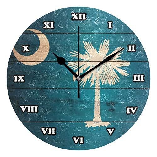 (South Carolina Flag Wood Wooden Silent Non Ticking Wall Clock,Decorative Round 9.45