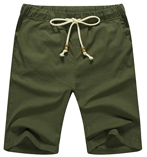 (ZYFMAILY Men's Linen Casual Classic Fit Drawstring Summer Beach Shorts, Army Green, X-Large)