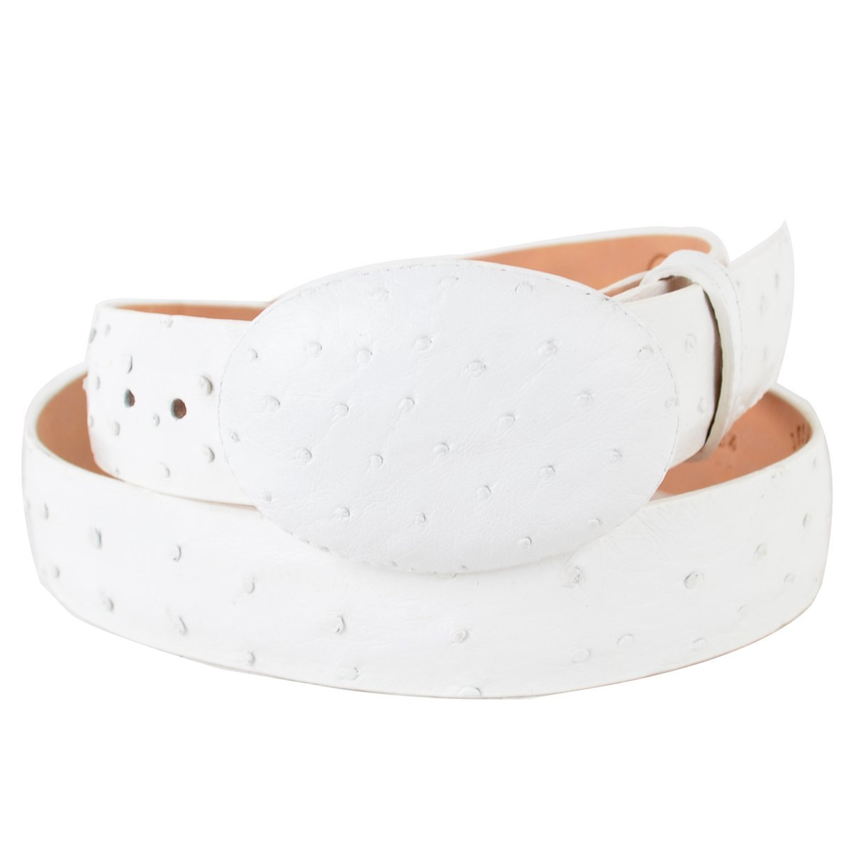 Original White Ostrich Skin Western Style Belt