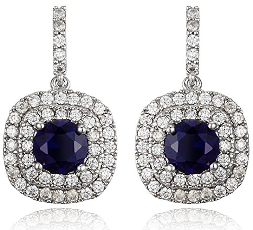 Glamorous Blue Sapphire Color Cubic Zirconia and Rhodium-Plated Dangle Earrings - Beautiful Choice of Earrings for Bridesmaids - Prom & Special Occasion Jewelry - Available in other colors