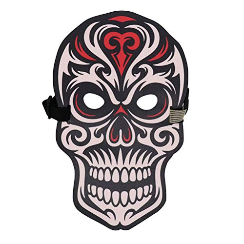 BESTOYARD Halloween Mask LED Light Up Mask Day of The Dead Skeleton Skull Voice Control Masquerade Party Cosplay Costume Mask -