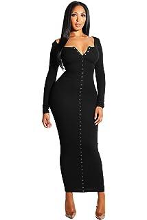 75684360fe1 Women Long Sleeve Snap Button Casual Ankle Length Bodycon Ribbed Maxi Dress