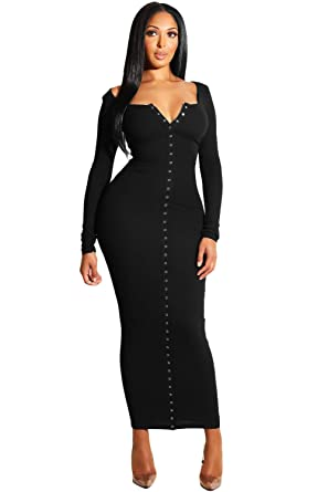 2cc676683b471 Women Long Sleeve Snap Button Casual Ankle Length Bodycon Ribbed Maxi Dress,  Black, Size