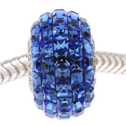 Swarovski Crystal, 80201 BeCharmed Square Pave European Style Lg Hole Bead 14mm, 1 Pc, Sapphire