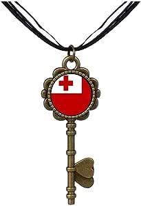 Chicforest Bronze Retro Style Tonga flag Key to Her Heart Pendant