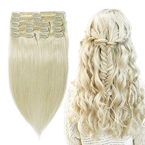 (Double Weft 100% Remy Human Hair Clip in Extensions #70 Bleach White 10''-22'' Grade 7A Quality Full Head Thick Long Soft Silky Straight 8pcs 18clips for Women Beauty 14