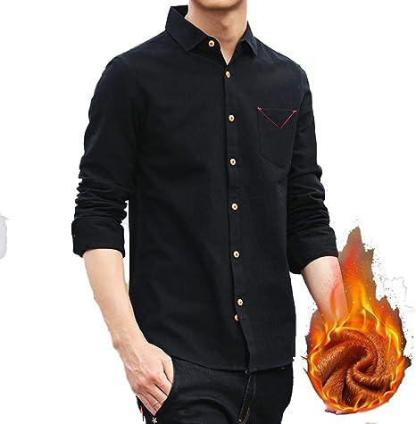 HZYY - Camisa de Terciopelo para Hombre, cálida, Gruesa, de Color sólido, de algodón, Gruesa, Antiarrugas, de Moda BlackXl: Amazon.es: Deportes y aire libre