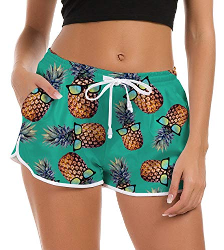 Idgreatim Cool Beach Board Shorts Women Casual Pineapple Printed Quick Dry Swim Trunks Active Sports Lounge Pants for Hawaiian Holiday S