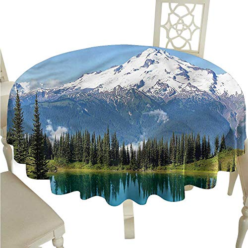 (ScottDecor Outdoor Picnics Landscape,Majestic Glacier Peak Dinning Tabletop Decoration Round Tablecloth D 70
