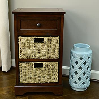 Décor Therapy FR1471 Side Table Storage Chest, Walnut