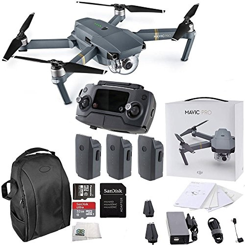 DJI Mavic Pro Collapsible Quadcopter Drone Ultimate Backpack Bundle with Remote Controller, Intelligent Flight Battery, 8330 Folding Propellers, Gimbal Clamp, Charger, 16GB microSD Card + More by DJI