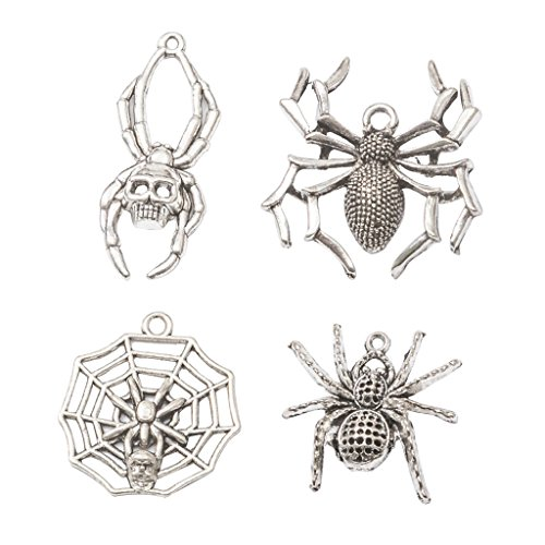 MagiDeal 4 Designs Chic Halloween Spider Charms Jewelry Pendant Bracelet Craft Making -