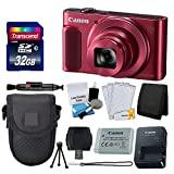 Canon PowerShot SX620 HS Digital Camera (Red) + Transcend 32GB Memory Card + Point & Shoot Camera Case + Card Reader + Card Wallet + Cleaning Kit + Screen Protectors + Tripod – Deluxe Accessory Kit For Sale