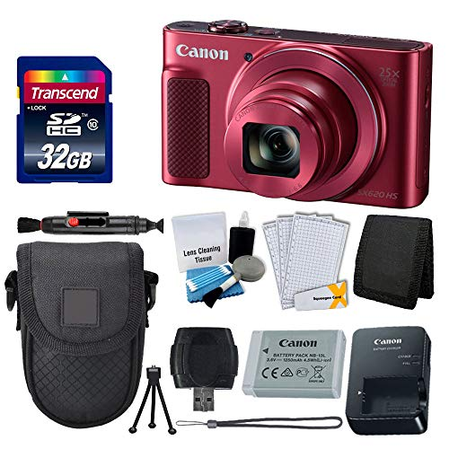 Canon PowerShot SX620 HS Digital Camera (Red) + Transcend 32GB Memory Card + Point & Shoot Camera Case + Card Reader + Card Wallet + Cleaning Kit + Screen Protectors + Tripod – Deluxe Accessory Kit