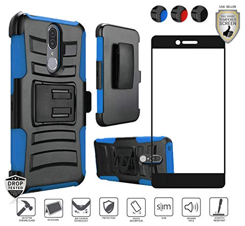 Compatible for Coolpad Legacy Case (Not Go Version) with [Full Edged Tempered Glass Screen Protector], Premium Tough Holster Combo Case [Clip] with Stand [Shockproof] [Armor] Dual Layer Cover (Blue) ()